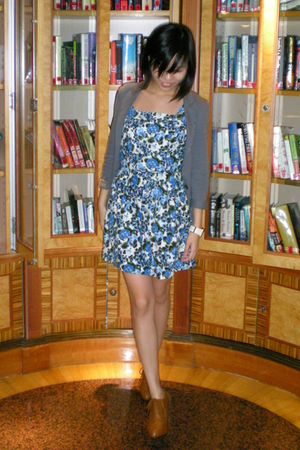 blue Topshop dress - gray Miss Selfridges blazer - brown Korean shoes