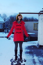 Gold-forever21-hat-red-newlook-coat-gray-newlook-tights-blue-cotton-on-ski