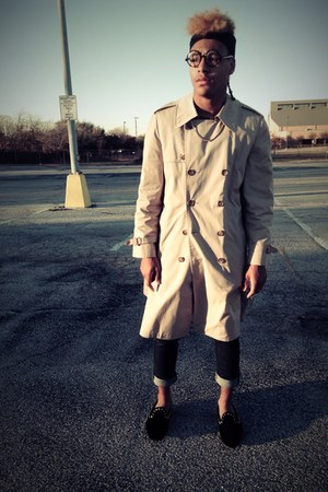 beige trench coat London Fog jacket - navy Levi jeans