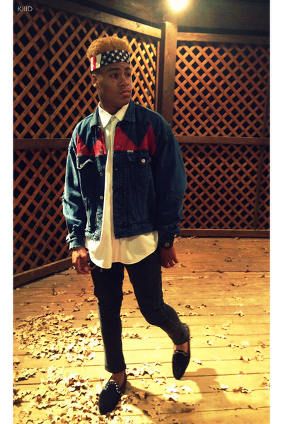 navy vintage jean Guess jacket - dark gray Levis jeans