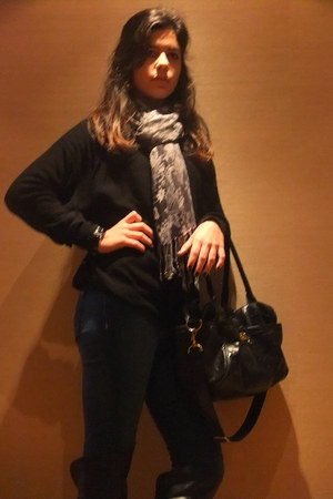 Zara boots - Pepe Jeans jeans - H&M scarf - Topshop bag - H&M jumper