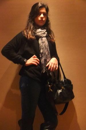 Zara boots - Pepe Jeans jeans - H&M scarf - Topshop bag - H&M jumper