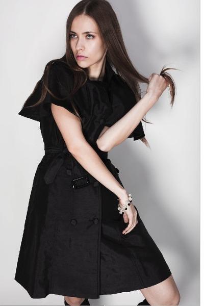 black Kisami coat - white A Little Frost bracelet
