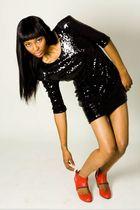 black Miss Milne dress - red Esska shoes