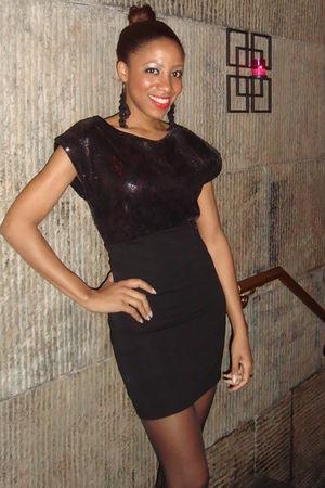 black Forever 21 earrings - black H&M dress - black Macys stockings - red Nars a