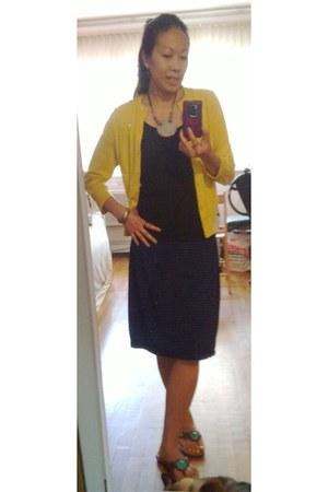 mustard jackie cardigan Jcrew cardigan - Marshalls skirt