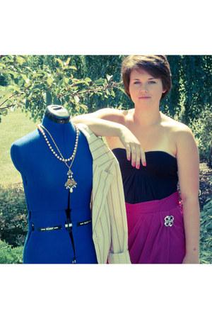 handmade skirt - blazer - black shirt - necklace - necklace