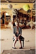 BCBG blazer - H&M skirt - thrifted vintage blouse - Gap flats - Morocco ring