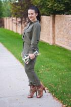 Clare V bag - H&M romper - Alexander Wang heels