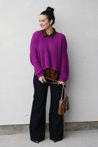 Nasty Gal sweater - 7 for all mankind jeans - Rebecca Minkoff purse