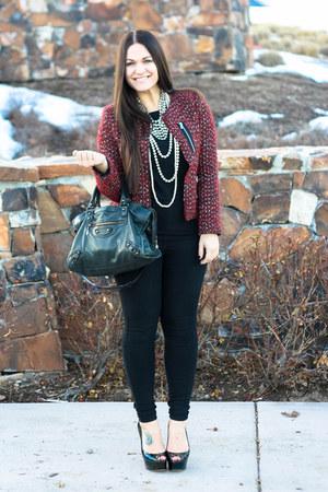 Zara blazer - balenciaga purse - brian atwood heels