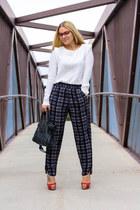 balenciaga bag - tildon shirt - Christian Louboutin heels - Wayf pants