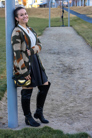 Report boots - foley  corinna bag - River Island skirt - asos cardigan