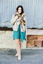 Forever 21 jacket - boots - dress - scarf