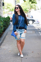 Marc by Marc Jacobs sweater - blank nyc shorts - Ray Ban sunglasses