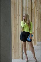 kate spade bag - J Crew shirt - bcbg max azria shorts - Steve Madden heels