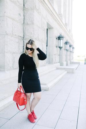 Givenchy purse - Karen Walker sunglasses - Adidas sneakers - asos bodysuit