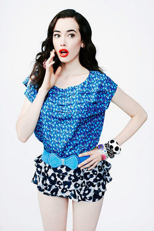 blue loose ruffles Forever 21 blouse - white ruffles Forever 21 skirt