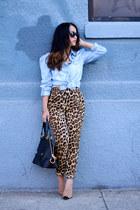 leopard print Zara pants - Marc Jacobs bag - chambray DaMasque blouse