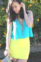 cropped top Aqua shirt - yellow skirt Express skirt