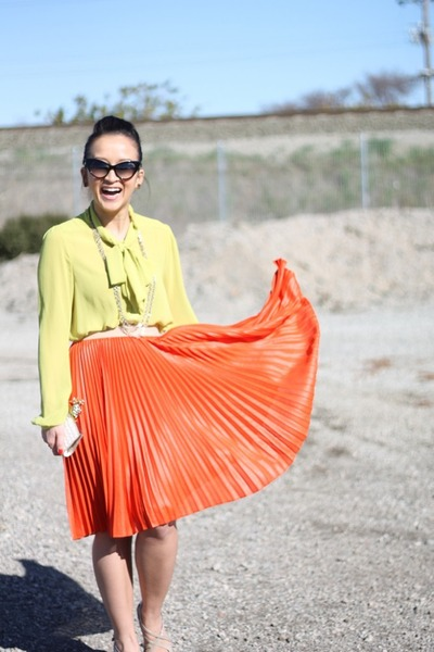 BCBGMAXAZRIA skirt - DeMasque blouse - christian dior glasses