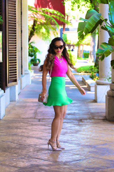 green tulip Zara skirt - pink crop Naven shirt - Rebecca Minkoff bag