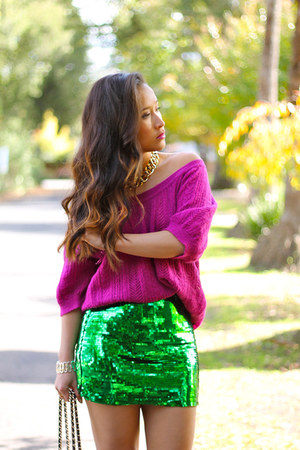 H&M skirt - fucshia knit Express sweater