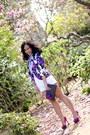 Floral-blazer-aqua-blazer-bcbgeneration-shorts-purple-pumps-zara-pumps