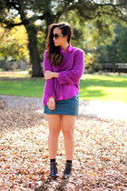 magenta knit H&M sweater - H&M skirt