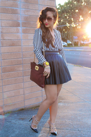 KTRcollection skirt - stripes blouse H&M blouse - Valentino pumps