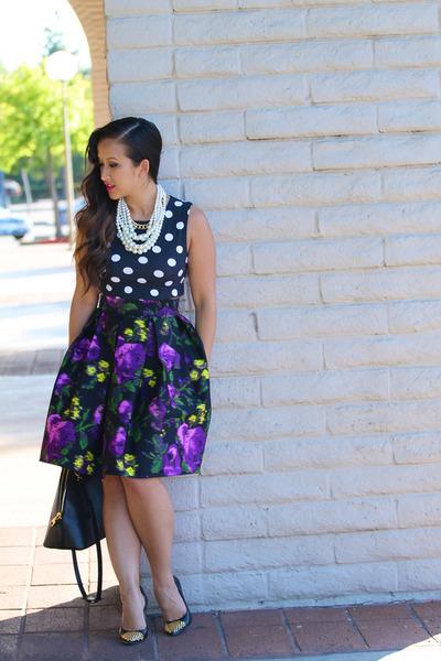 KTRcollection skirt - polka dots crop Topshop shirt