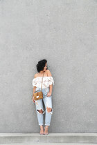 white crop top Missguided top - sky blue American Apparel jeans