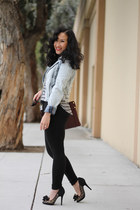 Beverly Feldman pumps - denim jacket H&M jacket - black jeggings leggings