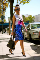 sequins blue KTRcollection skirt - leather black Marc Jacobs bag