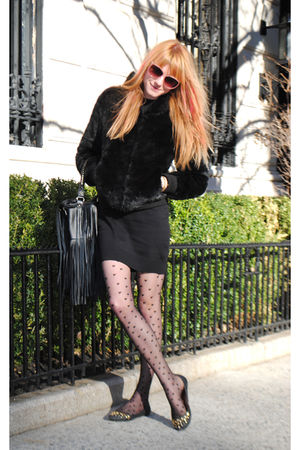 black H&amp;M jacket - Urban Outfitters tights - H&amp;M dress - H&amp;M purse