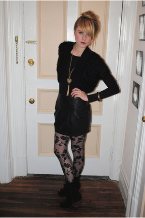 skirt - top - Urban Outfitters boots - necklace - H&amp;M tights -