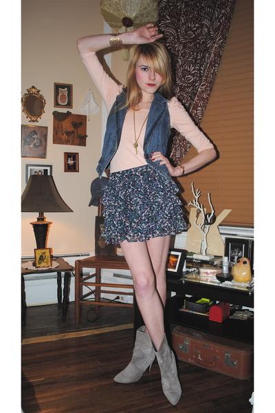 vintage boots - H&M skirt - h&m via thrift town vest - beige H&M blouse