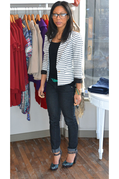Black And White Striped Blazer Outfit White Striped Refuge Blazer