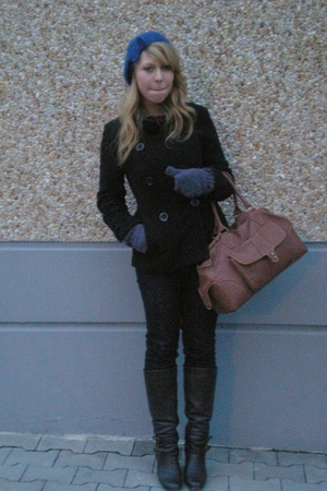 black jeans - black Atmosphere coat - brown purse - brown boots - blue H&M hat -