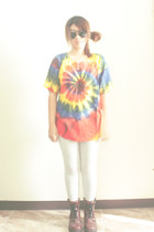 blue tie dye DIY t-shirt - dark brown leather brothers boots
