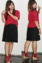 red cotton thrifted shirt - black crochet thrifted skirt