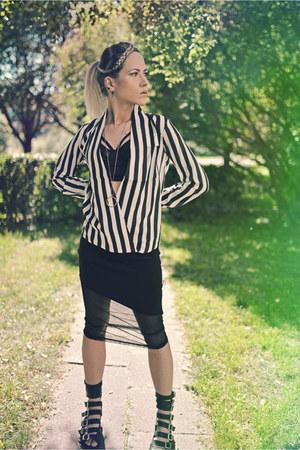black asos bra - black midi Boohoo skirt - striped Newdress blouse