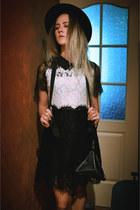 lace zaful dress - black triangle clutch bag