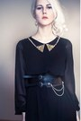 Black-spiked-collar-love-dress-black-two-buckles-pieces-belt