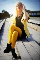 black wedge Friis & Company boots - black Amisu dress - yellow thrifted blazer
