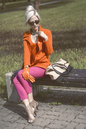 nude HOGL shoes - carrot orange Thrift Store blazer - lindex sunglasses