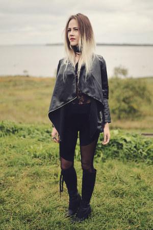 black pu leather zaful jacket - black lace zaful bodysuit