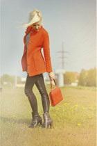 red blazer - leather boots - Zara leggings - red purse
