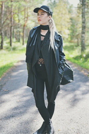 black faux leather Missguided jacket - black H&M pants