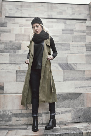 black vagabond boots - dark khaki wholesalebuying coat